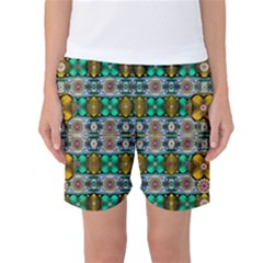 Rainbow Flowers And Decorative Peace Women s Basketball Shorts