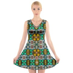 Rainbow Flowers And Decorative Peace V Neck Sleeveless Skater Dress