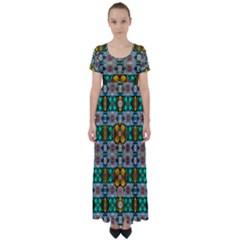 Rainbow Flowers And Decorative Peace High Waist Short Sleeve Maxi Dress