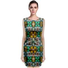 Rainbow Flowers And Decorative Peace Classic Sleeveless Midi Dress