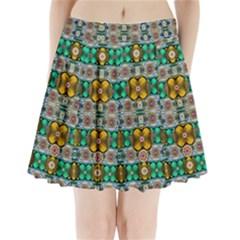 Rainbow Flowers And Decorative Peace Pleated Mini Skirt