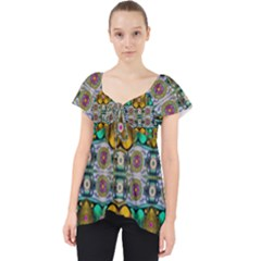 Rainbow Flowers And Decorative Peace Lace Front Dolly Top
