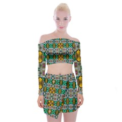 Rainbow Flowers And Decorative Peace Off Shoulder Top With Mini Skirt Set