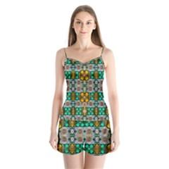 Rainbow Flowers And Decorative Peace Satin Pajamas Set