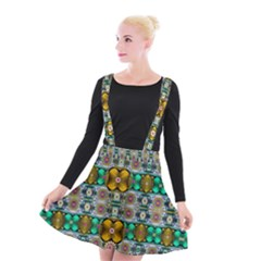 Rainbow Flowers And Decorative Peace Suspender Skater Skirt