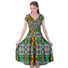 Rainbow Flowers And Decorative Peace Cap Sleeve Wrap Front Dress