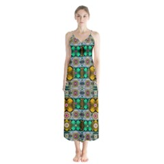 Rainbow Flowers And Decorative Peace Button Up Chiffon Maxi Dress