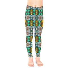 Rainbow Flowers And Decorative Peace Kids  Legging