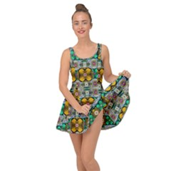 Rainbow Flowers And Decorative Peace Inside Out Dress