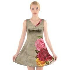 Flower 1646069 1920 V Neck Sleeveless Skater Dress