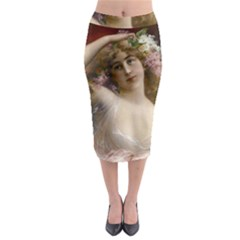 Victorian Lady In Pink Midi Pencil Skirt