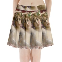 Victorian Lady In Pink Pleated Mini Skirt