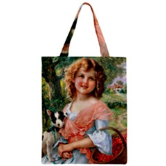 Girl With Dog Zipper Classic Tote Bag
