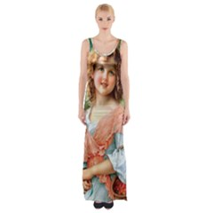 Girl With Dog Maxi Thigh Split Dress
