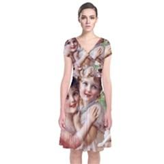 Vintage 1501556 1920 Short Sleeve Front Wrap Dress