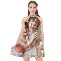 Vintage 1501556 1920 Halter Neckline Chiffon Dress