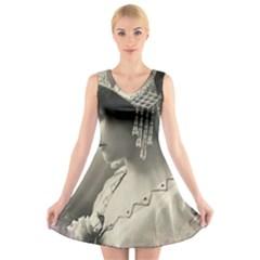 Vintage 1501540 1920 V Neck Sleeveless Skater Dress