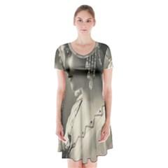 Vintage 1501540 1920 Short Sleeve V Neck Flare Dress