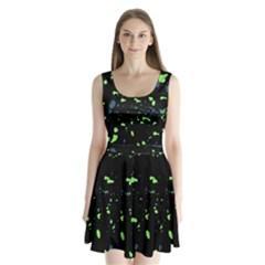 Dark Splatter Abstract Split Back Mini Dress