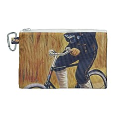 Policeman On Bicycle Canvas Cosmetic Bag (large)