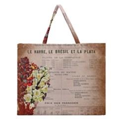 Letter Floral Zipper Large Tote Bag