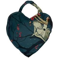 Girl And Flowers Giant Heart Shaped Tote