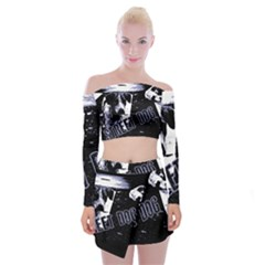 Street Dogs Off Shoulder Top With Mini Skirt Set