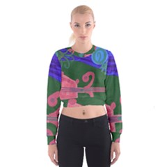Pink Guitar Cropped Sweatshirt