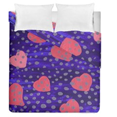 Underwater Pink Hearts Duvet Cover Double Side (queen Size)
