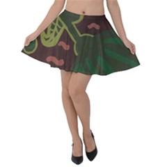 The Desert Plant Velvet Skater Skirt