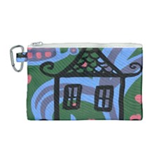 Smiling House Canvas Cosmetic Bag (medium)