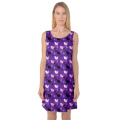 Snow Sleigh Deer Purple Sleeveless Satin Nightdress