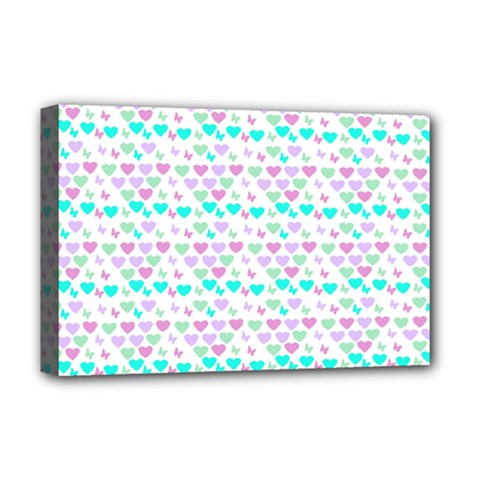 Hearts Butterflies White 1200 Deluxe Canvas 18  X 12