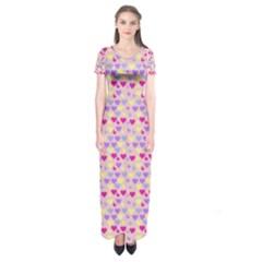 Hearts Butterflies Pink  Short Sleeve Maxi Dress