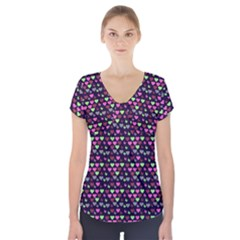 Hearts Butterflies Blue Pink Short Sleeve Front Detail Top