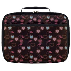 Heart Cherries Brown Full Print Lunch Bag