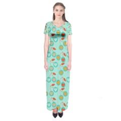 Light Teal Heart Cherries Short Sleeve Maxi Dress