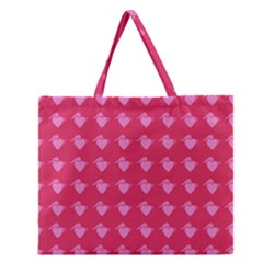 Punk Heart Pink Zipper Large Tote Bag