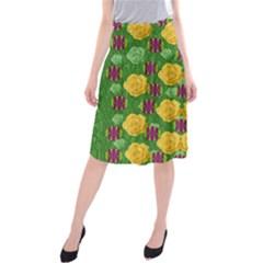 Roses Dancing On  Tulip Fields Forever Midi Beach Skirt