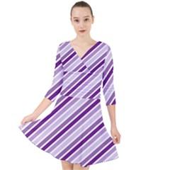 Violet Stripes Quarter Sleeve Front Wrap Dress
