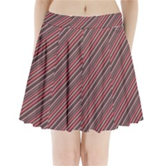 Brownish Diagonal Lines Pleated Mini Skirt