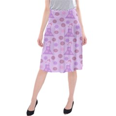Violet Pink Flower Dress Midi Beach Skirt