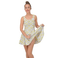 Woven2 White Marble & Yellow Watercolor (r) Inside Out Dress