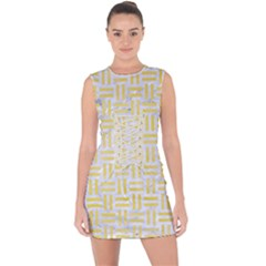 Woven1 White Marble & Yellow Watercolor (r) Lace Up Front Bodycon Dress