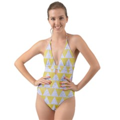 Triangle2 White Marble & Yellow Watercolor Halter Cut Out One Piece Swimsuit