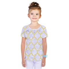 Tile1 White Marble & Yellow Watercolor (r) Kids  One Piece Tee