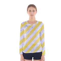 Stripes3 White Marble & Yellow Watercolor (r) Women s Long Sleeve Tee