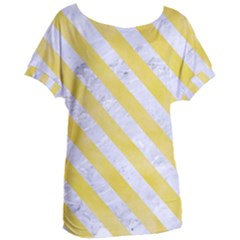 Stripes3 White Marble & Yellow Watercolor Women s Oversized Tee