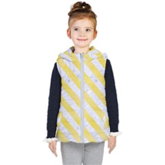 Stripes3 White Marble & Yellow Watercolor Kid s Puffer Vest