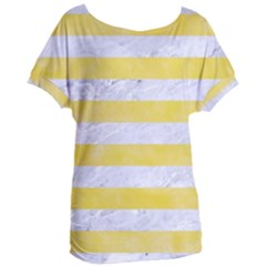 Stripes2white Marble & Yellow Watercolor Women s Oversized Tee